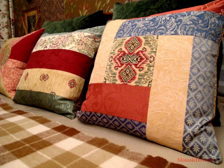 Декоративные подушки в стиле пэчворк 85