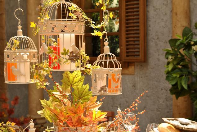 клетка декоративная, оформление стола, кленовые листья