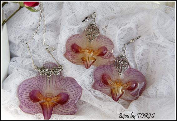 орхидея, натуральные цветы, серьги с орхидеями, колье с цветком