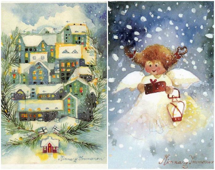 Днем рождения, рождественские открытки рисованные