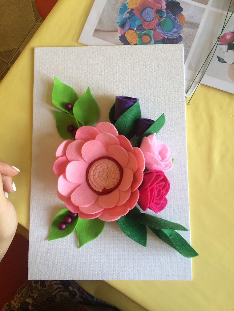открытка с цветами из фетра вам