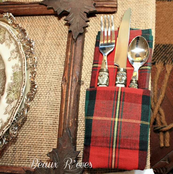 Rustic Table with plaid napkins