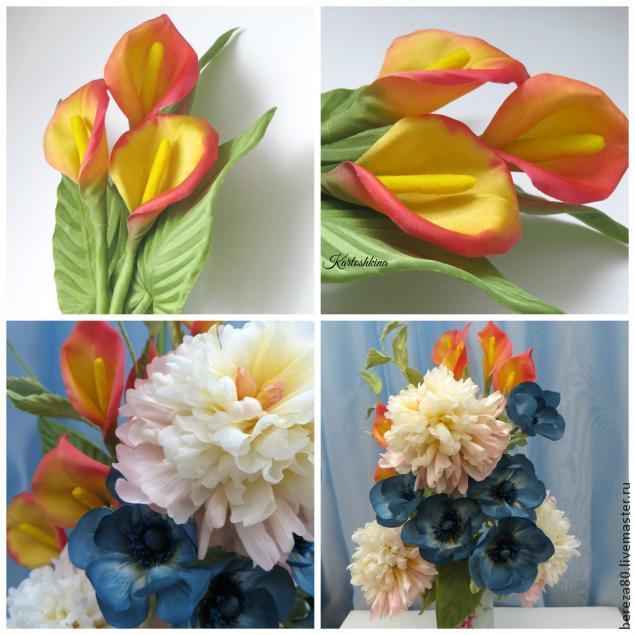 Создание простого и очень красивого цветка &8211 каллы из шелка, фото № 10