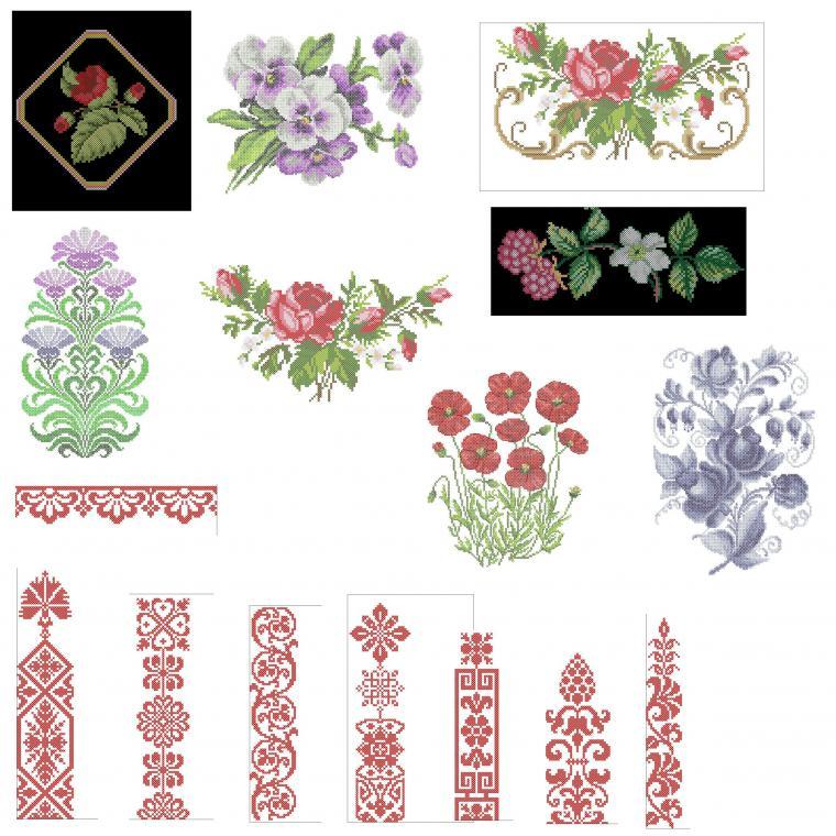Схемы машинной вышивки цветов