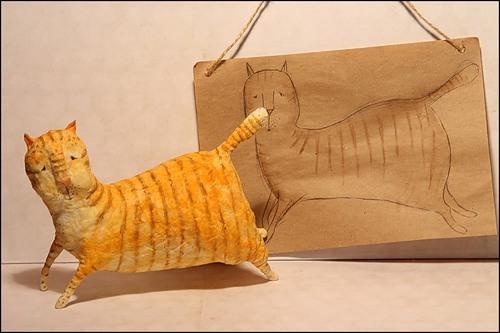 Кот папье маше сделать
