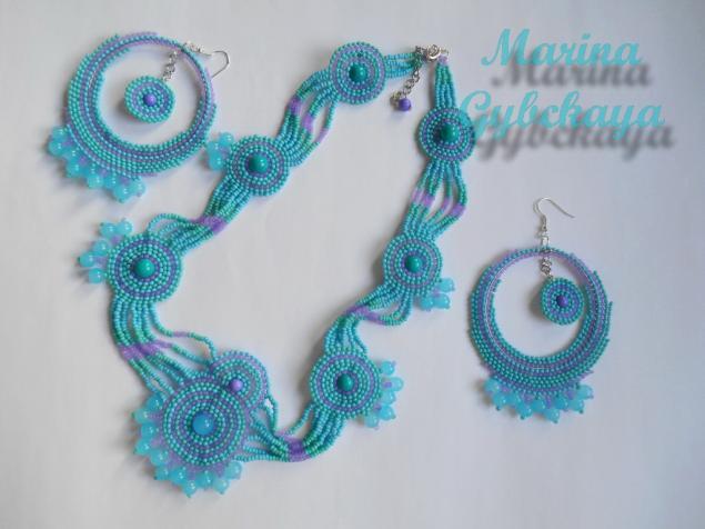 бисерное колье, большие серьги, круглые серьги, авторские украшения, лиловый, голубой