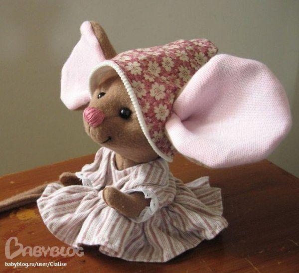 мышь, выкройка мыши, авторская работа, шитье, ушастик