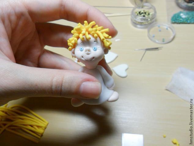 Рождественский ангел из полимерной глины, фото № 17