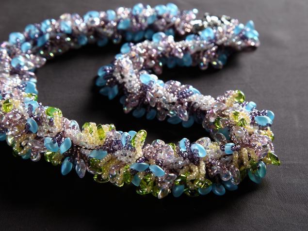 ожерелье, бисер, плетение из бисера, украшения, мастер-класс, бисероплетение
