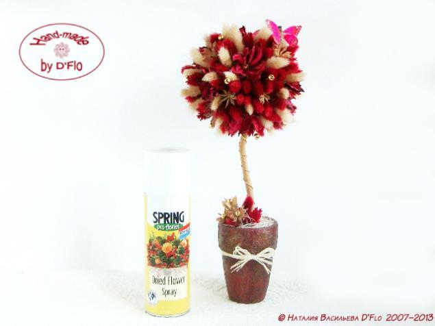 дерево счастья, топиарий из фаляриса, защита топиария от пыли, сухоцветы, флористическое дерево