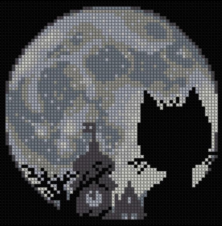 Схема вышивки луны крестиком