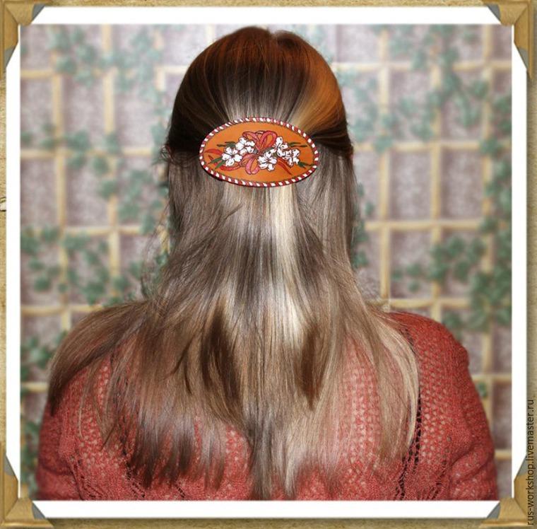 Заколки для волос своими руками из кожи и