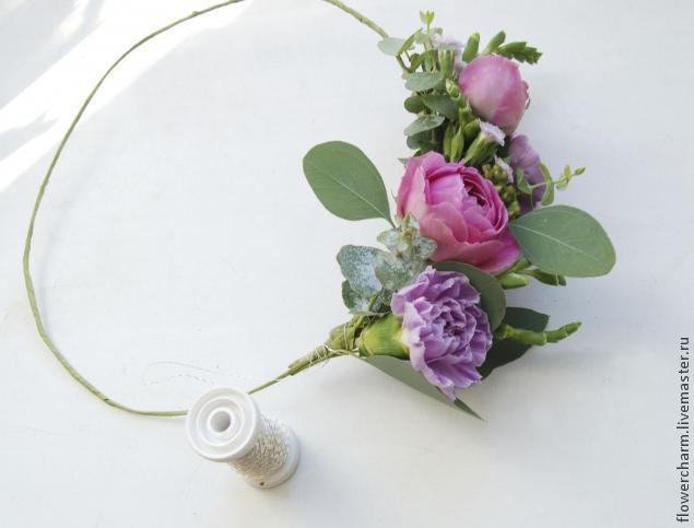 Как сделать венок на голову из живых цветов