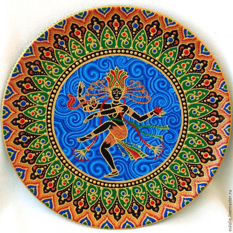 Мастер-класс по точечной росписи: тарелка-панно «танцующий Шива», фото № 26