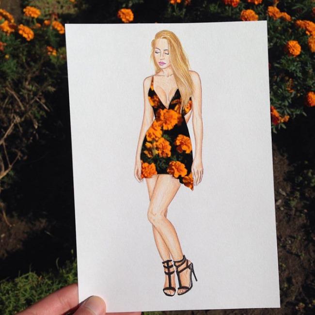 Фото сквозь рисунок платья
