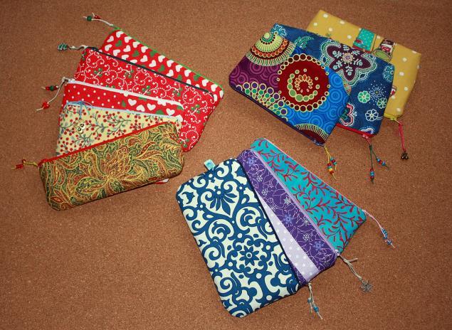 косметичка текстильная, кошелёк, подарок девушке, хэнд мейд подарок, новогодняя коллекция