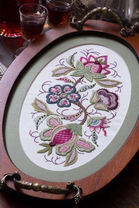 Вышивка гладью листья и цветы