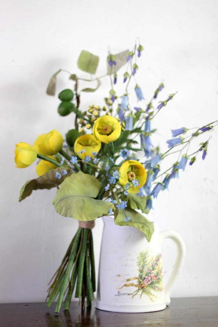 кувшинки, цветы из шелка, желтый