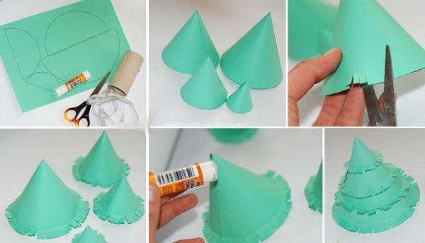 Новогодние ёлочки своими руками из бумаги
