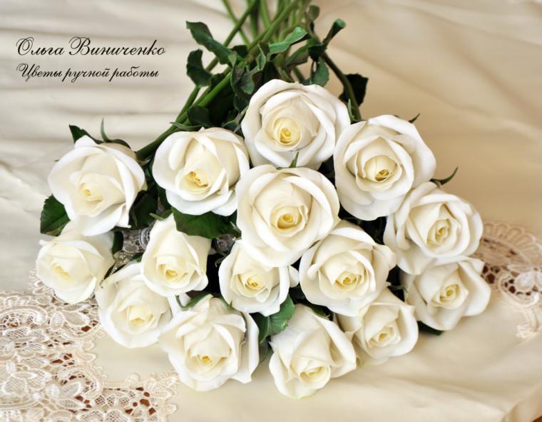 Открытка с днем рождения с розами белыми 66