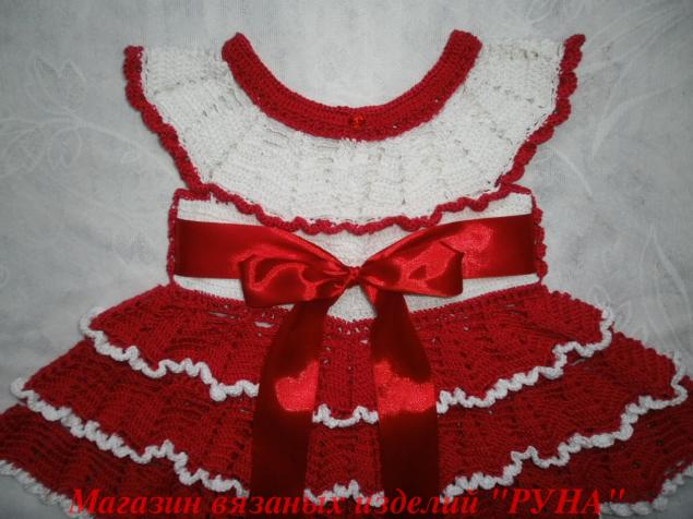 платье крючком, платье из хлопка, вяжем для детей, платье