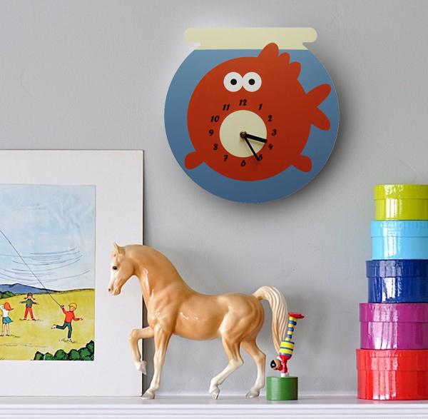 дизайнерские вещи, дизайнерские часы, настенные часы, детские часы, креативные часы, стильные часы, необычные часы, оригинальный подарок, креативный подарок, часы рыба, часы в детскую, оранжевый, аквариум, золотая рыбка
