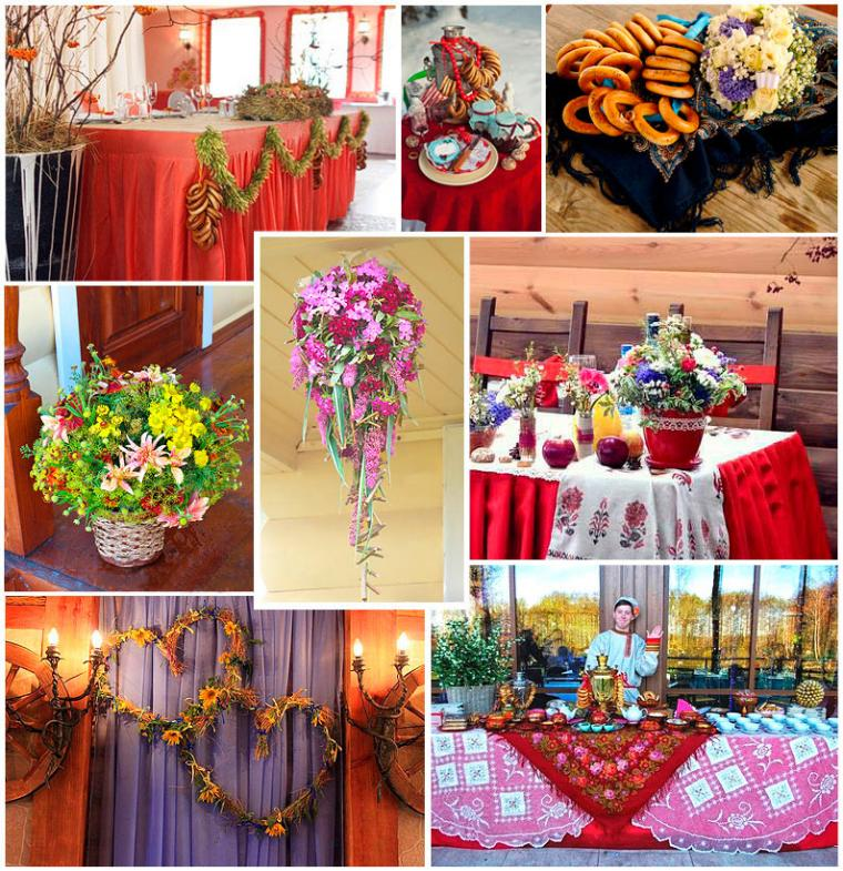 свадьба, русский, декор свадьбы, красный, полевые цветы