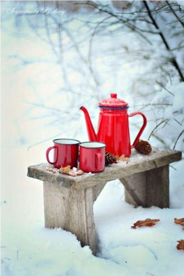 свой цвет зимние картинки красная кружка с чаем работ