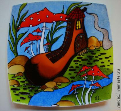 витражная роспись, роспись по керамике, мастер-класс, тарелка декоративная