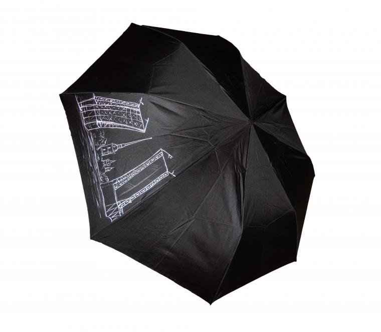 новинка, зонтик, черный зонт, зонт в подарок, ручная роспись, недорогой зонт, дворцовый мост, достопримечательности