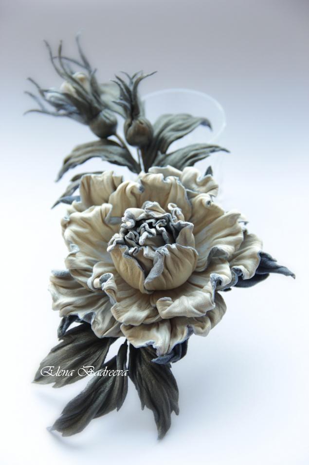 мастер-класс, обучение цветоделию, флористика, работа с кожей, брошь-цветок, елена бадреева