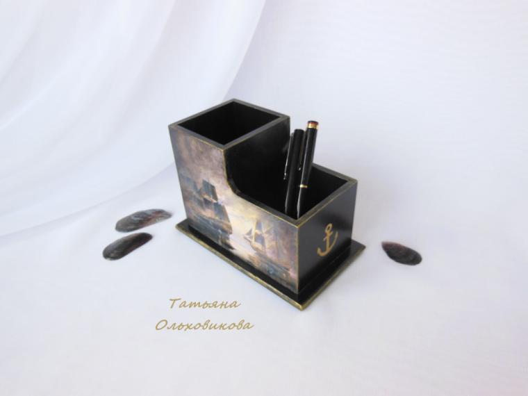 карандашница декупаж, золотой, корабль
