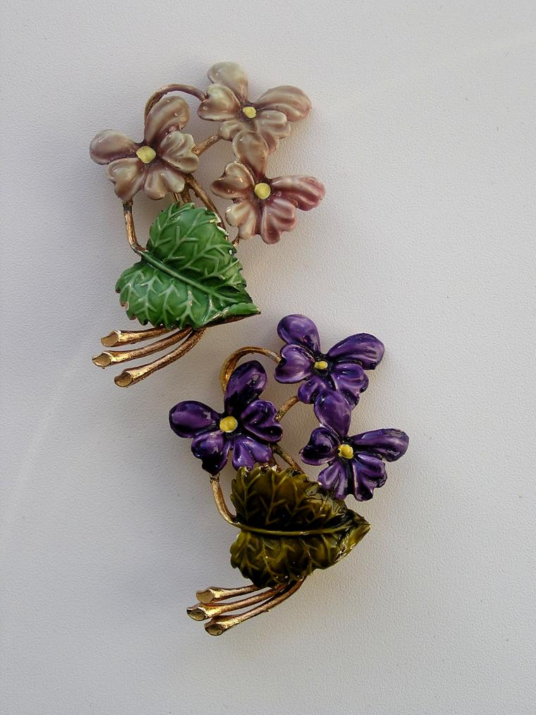 эмаль, брошь-цветок, фиалка