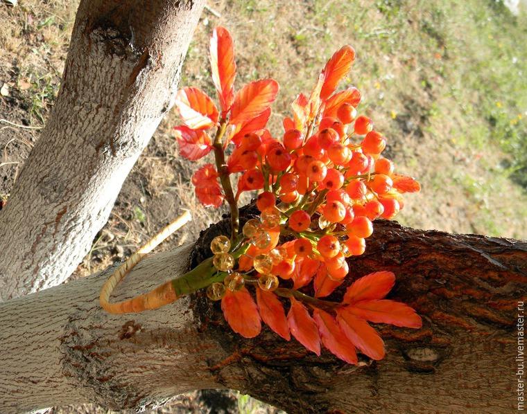 рябина своими руками, ободок с цветами
