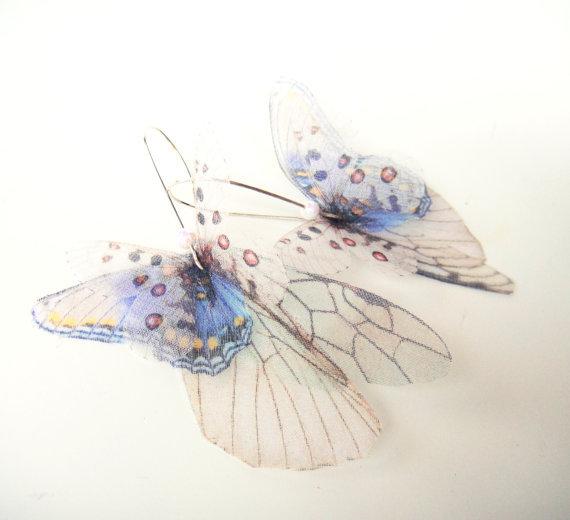 Бабочки все более Серьги из органзы готово к отправке бледно голубой и белый пар