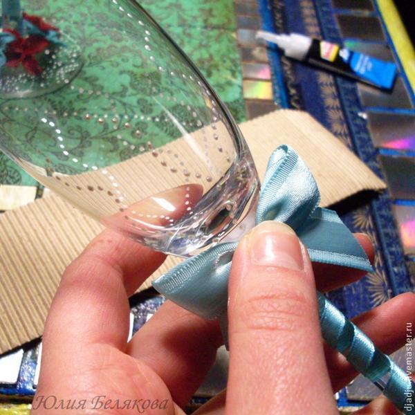 Свадебные бокалы, цветы из пластики, фото № 24