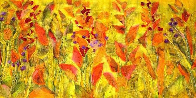 цветок для интерьера, валяный абажур