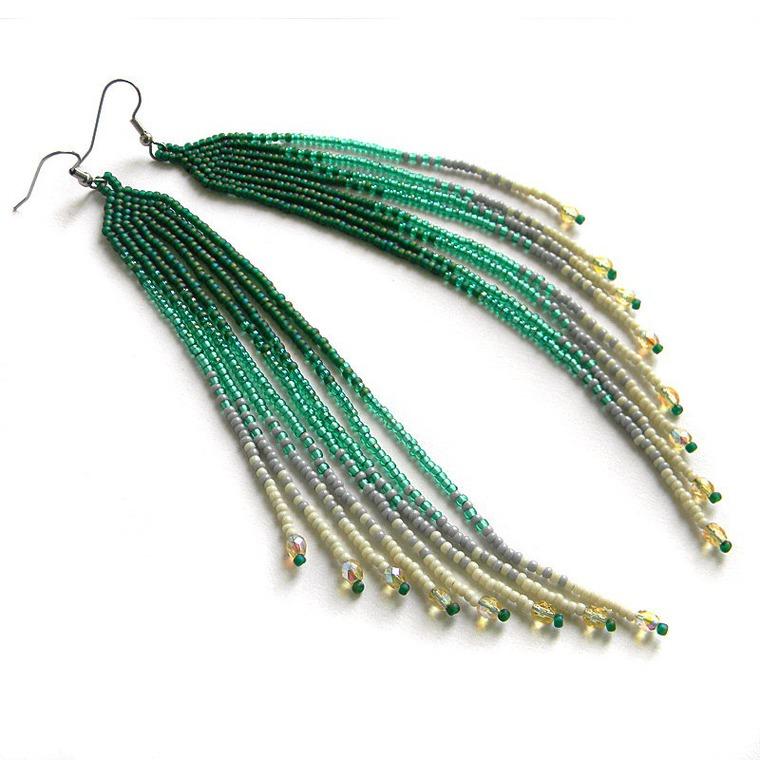 серьги, серьги из бисера, украшения, украшения из бисера, длинные серьги, очень длинные серьги, купить серьги из бисера, зелёные серьги, серьги ручной работы