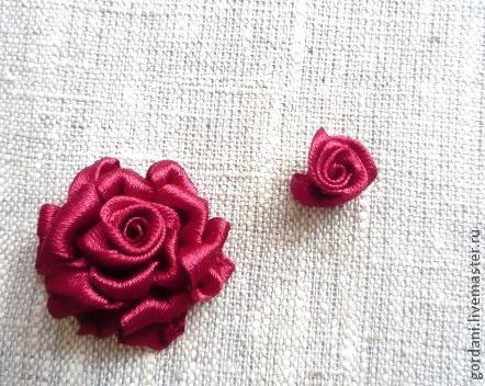 Вышивание цветка роза лентой