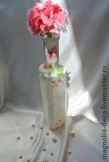 """Ваза для одного цветка """"Нежность лепестка"""". Декупаж мастер класс"""
