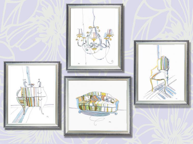 мебель для дома, графика, акварель, картина для интерьера, коллекция, мятная коллекция