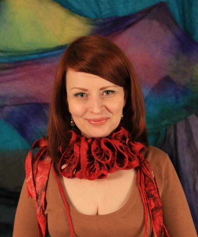 мокрое валяние, авторская работа, шарф