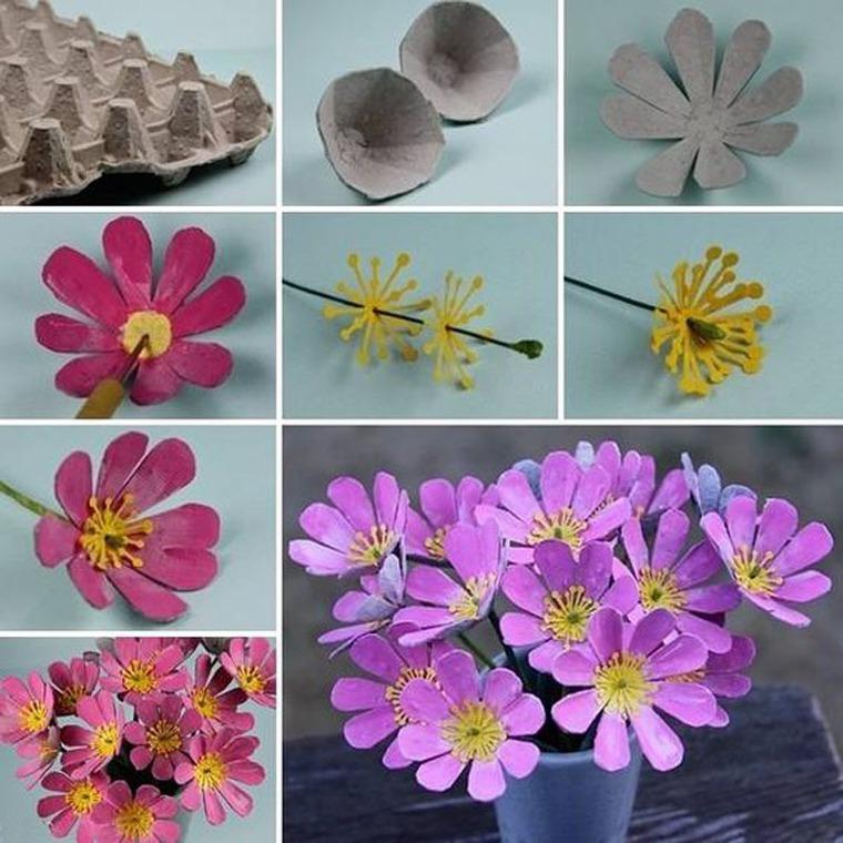 Цветы своими руками из упаковки от яиц