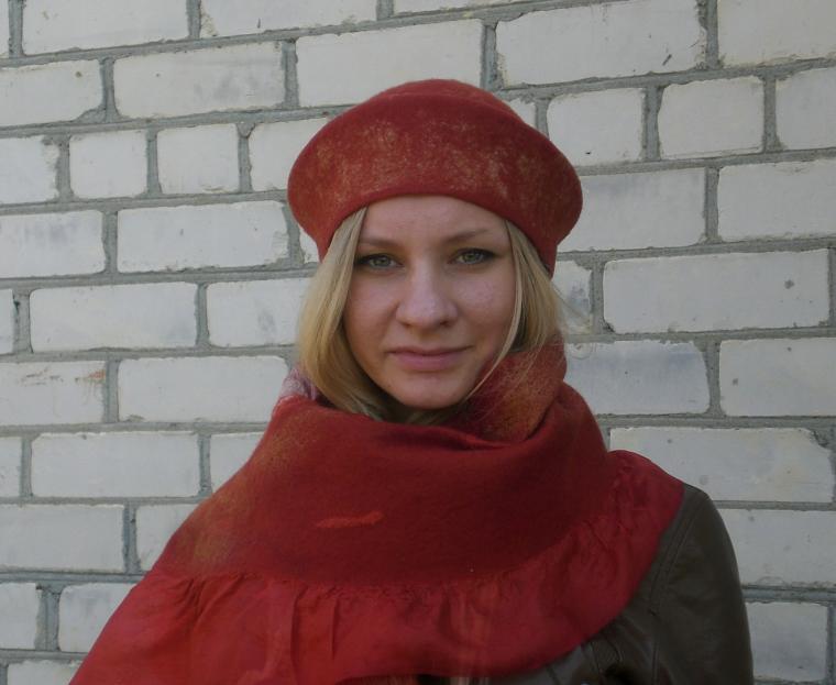 валяние из шерсти, шляпка, шарф, шарф из шерсти, женская шапка, терракота, шелк