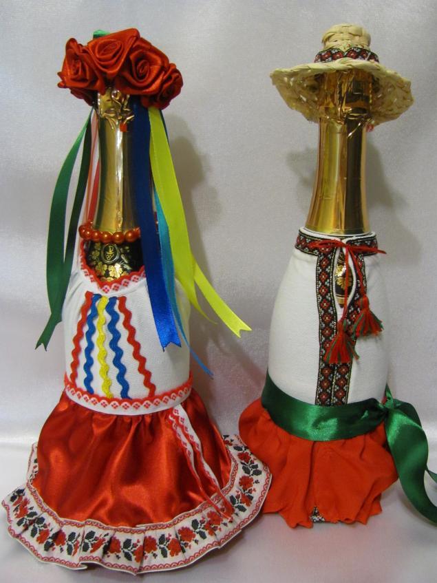 Декор бутылок своими руками лентой мастер класс