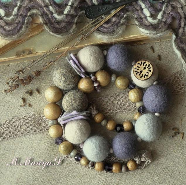 бусы, лаванда, камни, серьги