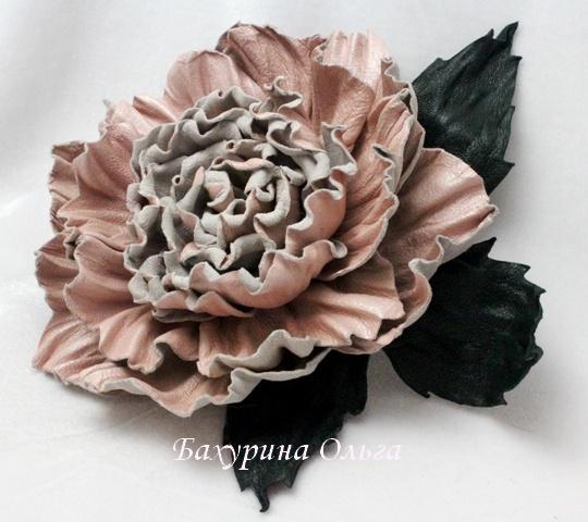 брошь из кожи, цветы ручной работы, обучение цветоделию, мастер-классы, роза