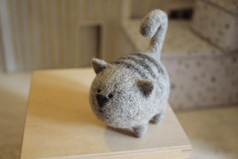 Кот из валяние из шерсти 4