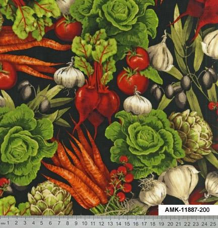 ткани с овощнм принтом