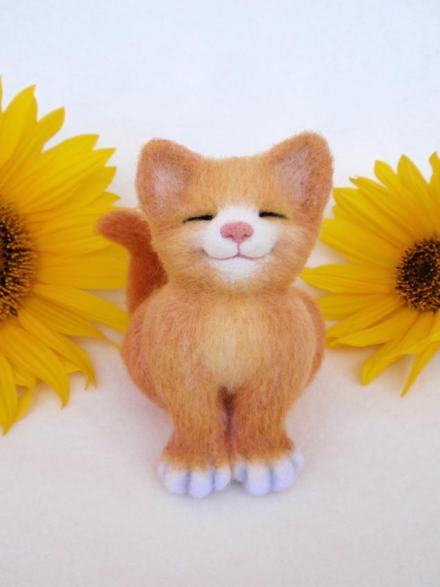 конфетка, розыгрыш, подарок, акция, валяние, игрушка из шерсти, кот, котенок, солнышко, войлок